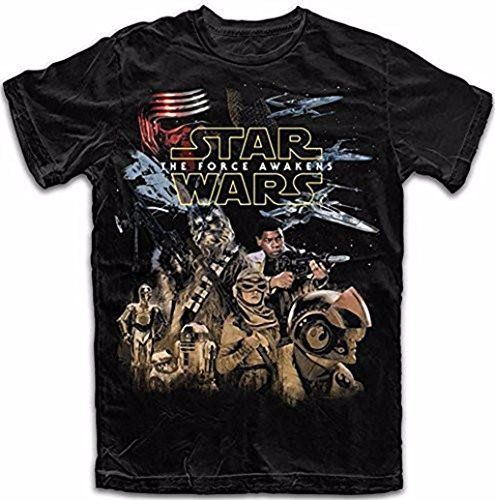 Star Wars the Force Awakens Resistance Big Boys T Shirt Black (L 10/12)