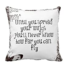 "Pillow Perfect Inspirational Quote: Spread Your Wings And Fly Print Custom Zippered Pillow Cushion Case Throw Pillow Covers 20""x20"" Twin Sides"