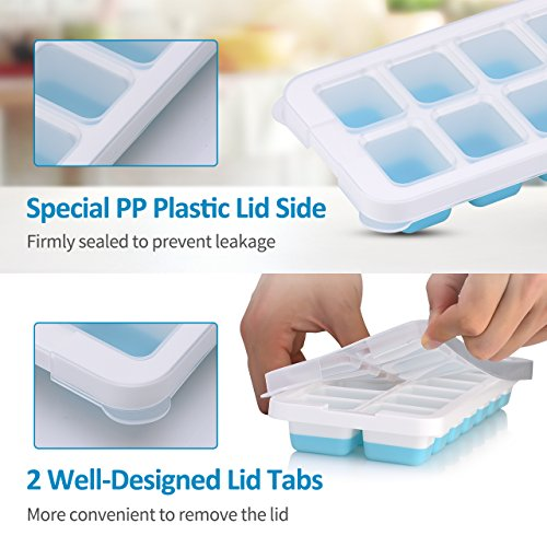 OMorc Ice Cube Trays 4 Pack [Upgraded Version], Easy-Release Silicone and Flexible 14-Ice Trays with Unique Removable Lid, Make Larger Ice Cubes, BPA Free, Stackable Durable and Dishwasher Safe by OMORC (Image #2)