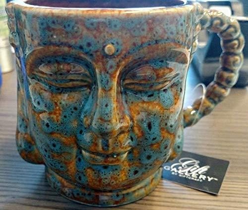 Buddha Head Ceramic Mug Cup Coffee Tea Zen Tranquil Yoga Gift Boxed Antiqued