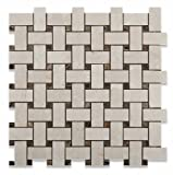 Crema Marfil Polished Basketweave Mosaic Tile w/ Emperador Dark Dots - Box of 5 sq. ft.