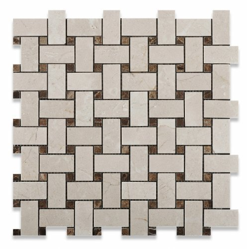 Crema Marfil Polished Basketweave Mosaic Tile w/ Emperador Dark Dots - Box of 5 sq. ft. by Marble 'n things