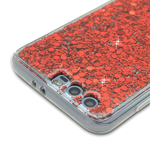 Funda Huawei Honor 9, Moon mood Huawei Honor 9 Brillar Carcasa de Teléfono Glittar Ultra Delgado Ligero del Gel TPU Suave Silicona Funda Caso para Huawei Honor 9 5.15 pulgadas Protectora Anti-Rasguño  Rojo