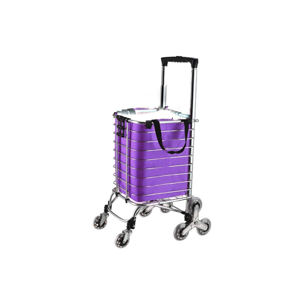 Lxrzls Foldable Shopping Trolley - Multi-Functional - Lightweight - Adjustable Luggage Grocery Cart - Purple Cloth Bag