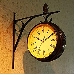 Wrought Iron Double Sided Wall Clock 2 Faces Train Station Clock Antique Wall Clock Hanging Clock