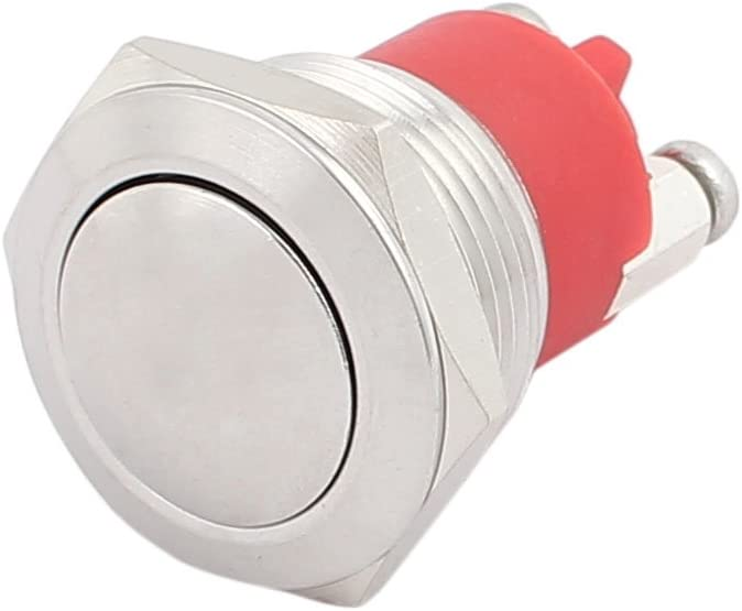 uxcell AC250V 3A 19mm 0.75 inches Thread Dia Cambered Cap Stainless Steel Metal Momentary Push Button Switch 1NO SPST Screw Terminals UL Recognized