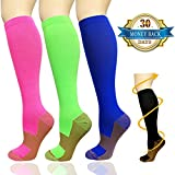 Copper Compression Socks For Men & Women(3 Pairs)-Boost Performance, Speed Up Recovery, Better Blood Circulation - For All Sports, Flight, Air Travel, Nurse, Medical Use (L/XL, Multicoloured)