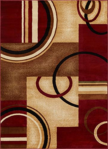 Well Woven Barclay Arcs & Shapes Red Modern Geometric Area Rug 7'10