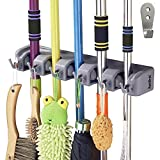 RockBirds Broom Mop Holder, T56 Multipurpose Wall Mounted Organizer, Ideal Broom Hanger Solution for Kitchen, Garage, Warehouse (5 Position with 6 Hooks)