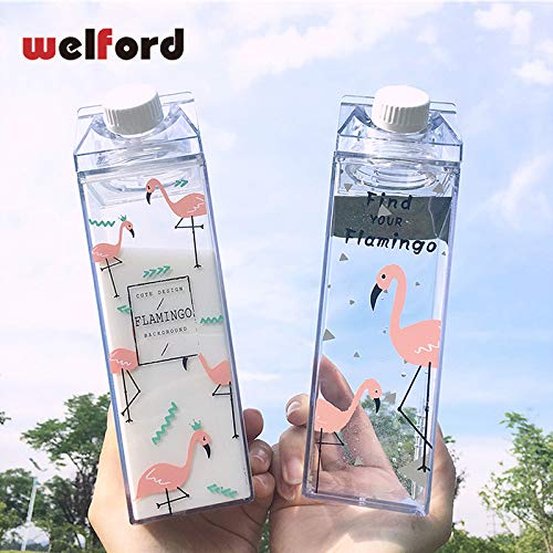 LINAE Water Bottles - Flamingo Milk Water Bottle Plastic Creative Sport Drinkware Cycling Camping Hiking My Drink Bottle Shaker Portable Kettle 1 PCs