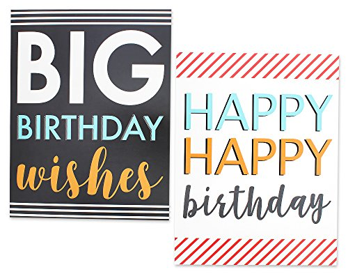 12 Pack Jumbo Big Happy Birthday Greeting Cards Assortment - Bulk Box Set - 6 Assorted Unique Multicolor Designs - Envelopes Included, 8.5 x 11 Inches Photo #6