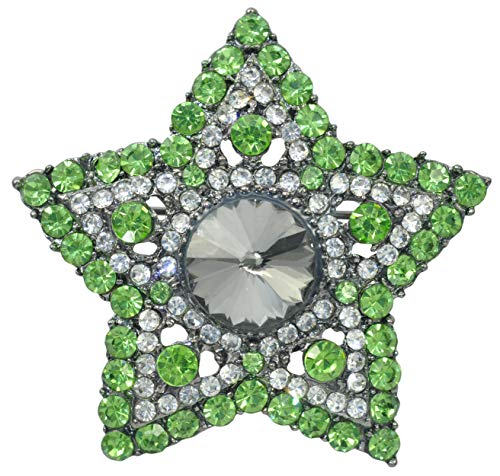 - Gyn&Joy Gunmetal Tone Green Crystal Rhinestone Star Bridal Bouquet Lapel Pin Brooch BZ152G