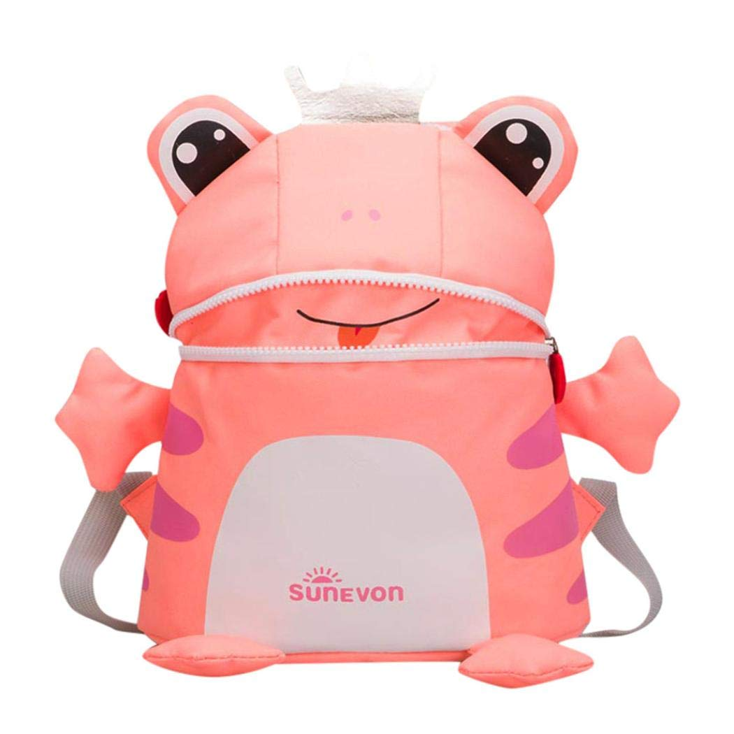 Nevera Baby Girl&Boy Kids Cartoon Frog Fox Animal Backpack Toddler Kindergarten Bags (Pink)