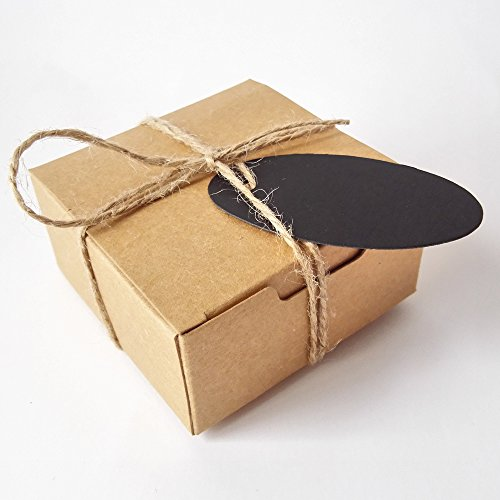 Gold-Furtune 50PCS Square Gift Wrapping Kraft Paper Box With Tags & Hemp Rope Paper Soap Box (Brown Box With Black Hemp Rope)