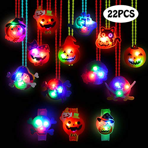U-Goforst 22 Pieces Halloween LED Light Up Party Favor Toy Necklace Bracelet Wristband for Kids and Adults with Gift Packge Flashing Toys Treat Bag Fillers