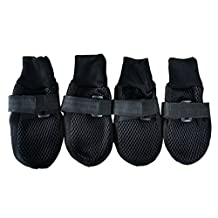 UEETEK Breathable Mesh Dog Puppy Shoes Nonslip Soft Sole Dog Boots Paw Protector Size XXL (Black)