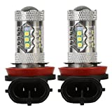 OSAN 2x H8 H11 H9 80W Xenon CREE Projector Lens Car LED Bulb High Power 6000k DRL Light Daytime Running Fog light Lamps