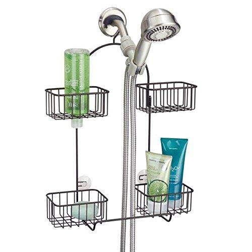 mDesign Hand Held Shower Head Bathroom Caddy for Shampoo, Conditioner, Soap - Bronze MetroDecor 6018MDBST