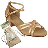 Women's Ballroom Dance Shoes Salsa Latin Practice Dance Shoes Copper Nude Leather S9204EB Comfortable - Very Fine 1.2'' Heel 9 M US [Bundle of 5]