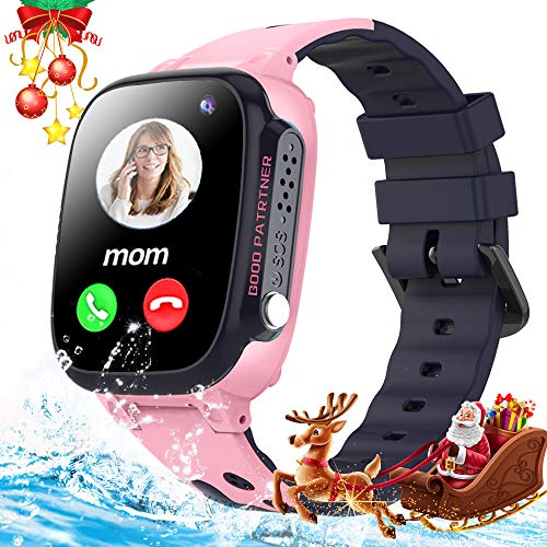 Smart Watch for Kids with GPS Tracker - Kids Waterproof Smartwatch Phone Boys Girls HD Two-Way Call SOS Touchscreen Camera Game Alarm Clock Gizmo Watch Students Learning Toys Christmas Birthday Gifts