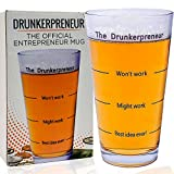 Funny Brainstorming Glass - ''the DrunkerPreneur'' Beer Mug. Holiday Present for Dad, Entrepreneurs, Boss, Businessman and Woman. 16 Ounces Pint Glasses