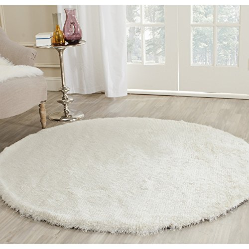 Safavieh Paris Shag Collection SG511-1212 Ivory Polyester Round Area Rug (5′ Diameter)