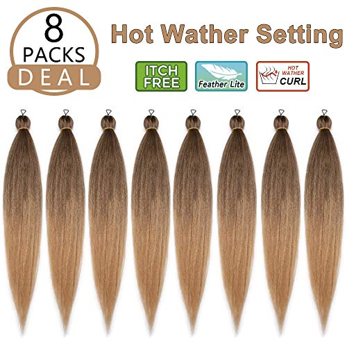 Beauty : Pre-stretched Braiding Hair EZ braid 8 Packs 24 Inch Professional Perm Yaki Synthetic Hair Crochet Braids Hot Water Setting Itch Free(T27#)