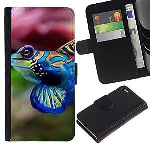 Billetera de Cuero Caso del tirón Titular de la tarjeta Carcasa Funda del zurriago para Apple Iphone 4 / 4S / Business Style Cool Neon Coral Fish