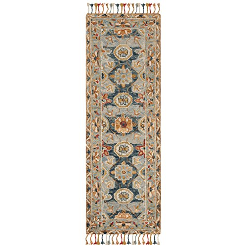 Navy Wool Runner Rug - Safavieh Aspen Collection APN110A Grey and Navy Premium Wool Runner (2'3' x 7')