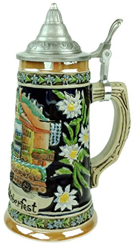 Munich Oktoberfest Scenic German Street Scene Engraved Ceramic Beer Stein with metal lid