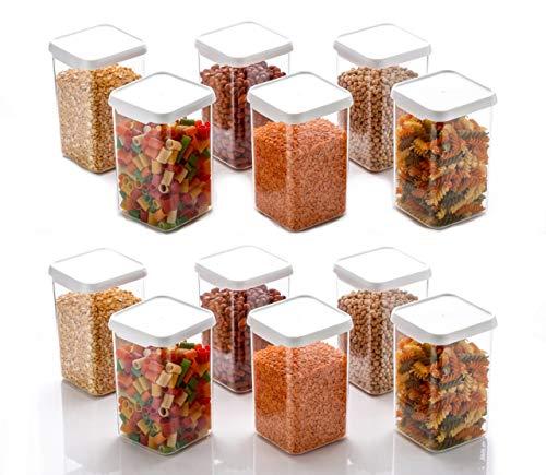 Machak 1100 ml Square Storage Kitchen Container Jar Set, Clear (12) Price & Reviews
