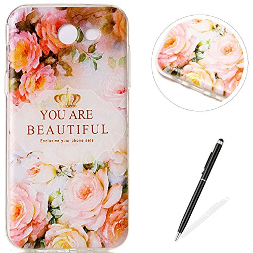 MAGQI Samsung Galaxy J7(2017) / J720 Case,Soft Ultra Slim Flexible Durable TPU Silicone Shell Anti-Scratch Shockproof Flower Unicorn Cartoon Pattern Transparent Bumper Gel Cover - Rose Flower -