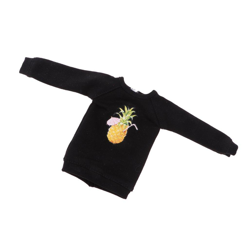 MagiDeal Multiple Casual Long Hoodie Top Sweatshirt Pullover for 12'' Blythe Dolls Black Pineapple