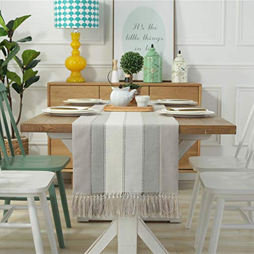 Bigcozy Tassels Geometric Stripe Table Runner | Cotton Linen Farmhouse Table Runner with Fringe for Living Room Coffee Dining Table (15