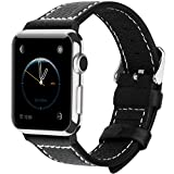 Apple Watch Bands, Fullmosa Jan Series Lichi Texture Calf Leather Strap Replacement Band with Stainless Metal Clasp for Apple Watch Series 1 Series 2, Black,42mm Reviews