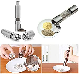 LITTLEPIG Stainless Steel Electric Salt Pepper Mill Spice Grinder Muller Kitchen Tool Silver Single Mill Square Head