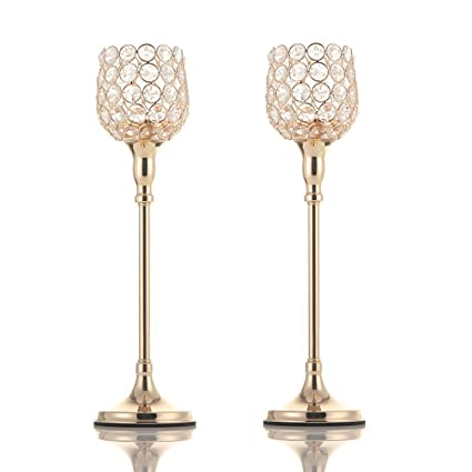 VINCIGANT Gold Pillar Crystal Tea Light Candle Holders Set Of 2 Wedding Table Centerpieces For Birthday