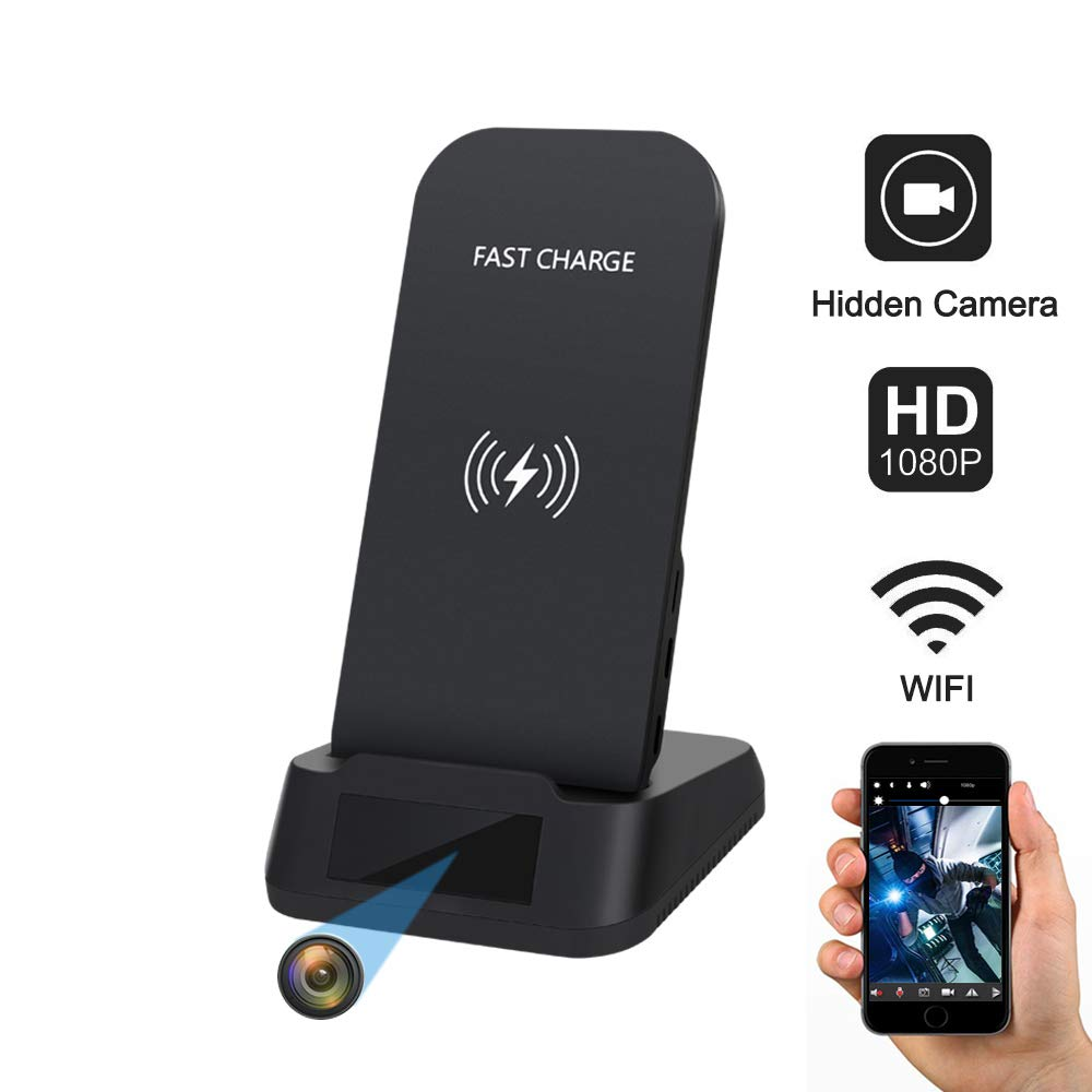 KAPOSEV Spy Camera WiFi Hidden Camera with Wireless Phone Charger, 1080P Security Cameras Hidden Nanny Cam with Motion Detection/Night Vision,Phone Remotely Monitoring/Support Micro SD Card Recording