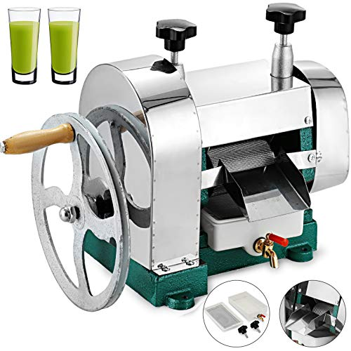 VBENLEM Sugar Cane Juicer Ginger Press Juicer Manual 304 Stainless Steel Sugarcane Juicer Sugar Cane Extractor Squeezer for Commercial or Home Use (Item will deliver in two packages)