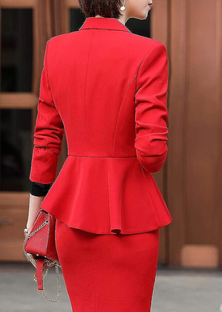 LISUEYNE Women/'s Elegant 2 Piece Office Lady Business Suit Set Slim Fit Work Suits for Women Blazer Jacket,Pant//Skirt Suits