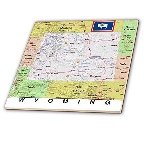 3dRose Lens Art by Florene - Topo Maps, Flags of States - Image of Wyoming Topographic Map with Flag - 4 Inch Ceramic Tile (ct_291434_1)
