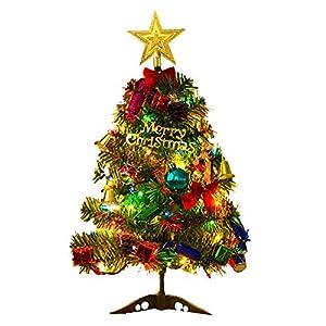 Albero di Natale da Tavolo di 50 cm,Albero di Natale Artificiale con Supporto Mini Albero di Natale Artificiale di Pino da Tavolo con Puntale a Stella e Ornamenti Appesi per Decorazioni di Natale 7 spesavip