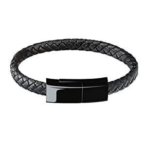 LSENG Charging Cable Bracelet for Men Portable Micro iPhone Charger USB Wristband USB A Cable Bracelet Durable Leather Braided Wrist Band Portable Short Charger Cord Cable iPad/iPod (M,7.8'')