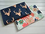 Floral Deer Burp Cloth Set