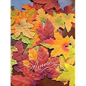 1000 Thanksgiving Halloween Wedding Artificial Fall Maple Autumn Leaves Mix Color Sizes Great Table Scatters 2