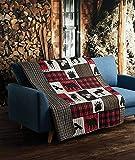 Virah Bella Lodge Life 50''x60'' Quilted Throw, Black Bear Paw Moose Cabin Red Buffalo Check Plaid