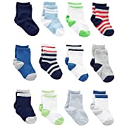 Simple Joys by Carter's Boys' 12-Pack Socks, Blue/Gray/White, 0-6 Months