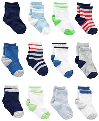 Simple Joys by Carter's Baby Boys' Pack Socks, Blue/Grey/White, 6-12 Months