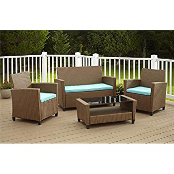 Delightful Cosco Products 4 Piece Malmo Resin Wicker Patio Set   Brown With Teal  Cushions