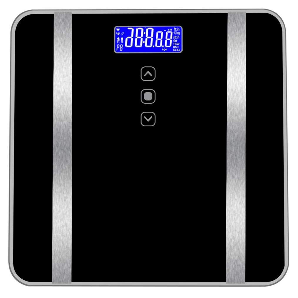 Accurate Body Bathroom Fat Scale Display Seven Ttems of Data 180KG/400 pounds for Body Weight, Body Fat Rate, Water Content, Bone Content, Muscle Content, BMI, calori Shipped from USA (Black)